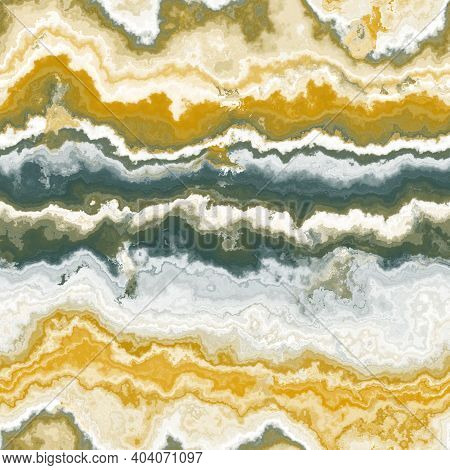 Abstract Illustration Of Marble Stone In Trendy Golden Fortune And Green Tidal Color. Seamless Textu