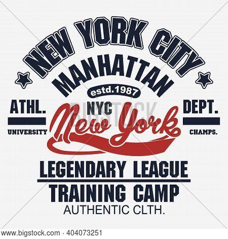 T-shirt Stamp Graphic. New York Sport Wear Typography Emblem