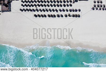 Drone Photo Thatch Roof Umbrellas At Playa Ballenas, Cancun, Quintana Roo, Mexico