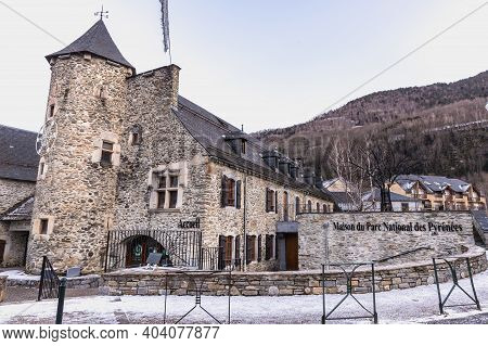 Saint Lary Soulan, France - December 26, 2020: Architectural Detail Of The Maison Du Parc National D