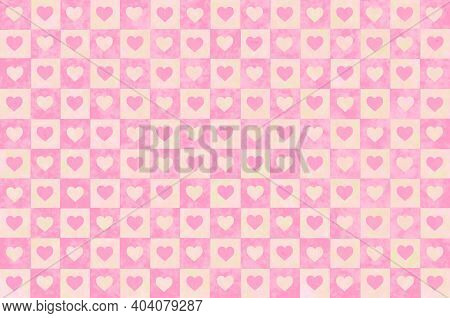 Pink Beige Red Faded Vintage Checkered Background With Blur, Gradient And Grunge Texture. Classic Ch