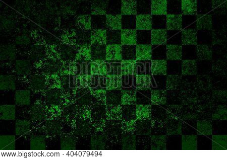 Green Black Vintage Checkered Background With Blur, Gradient And Texture Grunge. Classic Checkered G