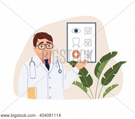 Health Insurance Concept On Light Background. Young Flat Doctor Character With Form In Hospital. Med
