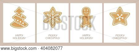 Set Of Holiday Cards With A Christmas Homemade Cookies With Glaze: Spruce, Snowflake, Gingerbread Ma