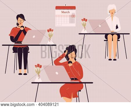 March 8 International Women Day.cute Female Collective Work On Laptops.vases With Tulips On Desks.la