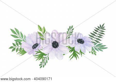 White Anemone Flower Green Leaf Decorative Floral Arrangement Hand Drawn Vintage Style Watercolor Il
