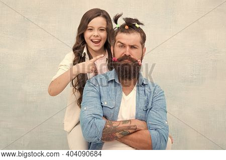 I Did It. Little Girl Made Funny Hairstyle For Daddy. Daughter And Dad Playing Together. Hairstylist