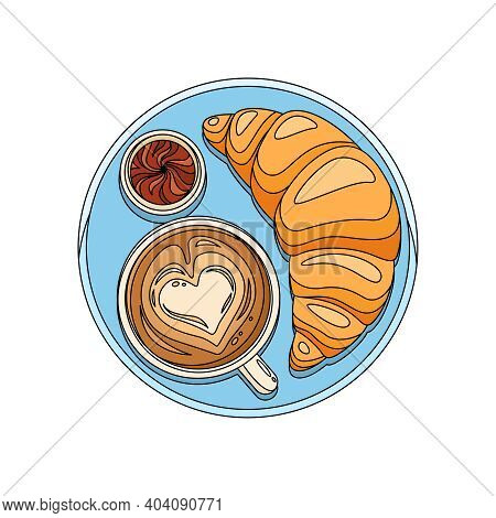 Served Breakfast With Croissant Chocolate And Cup Of Cappuccino Flat Vector Illustration