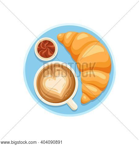 Flat Sweet Croissant And Cappuccino For Breakfast Vector Illustration