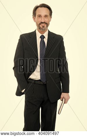 More Career Confident And Ambitious Than Ever. Happy Businessman Isolated On White. Elegant Business