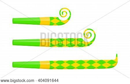 Rolled And Unrolled Party Noise Makers, Blowers, Sound Whistles Isolated On White Background. Side V