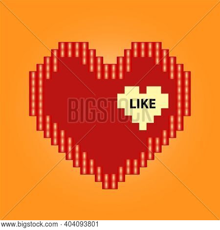 Red Heart Icon In Pixel Style. Isolated Love Sign On Orange Background. Vector Illustration