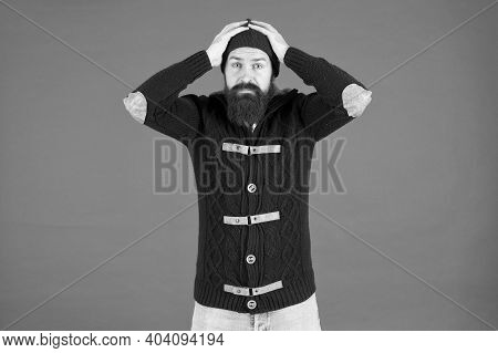 Mistake. Emotional Expression. Casual Clothes For Winter Season. Hipster With Long Beard. Hipster Li
