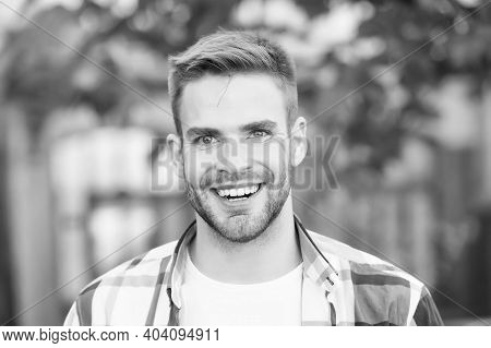 Smile With Confidence. Happy Man Smile Summer Outdoors. Handsome Guy With Healthy Smile. Oral Hygien