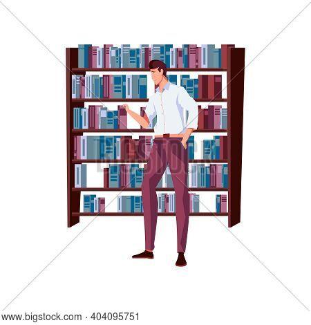 Man Taking Book From Shelf At Bookshop Flat Vector Illustration