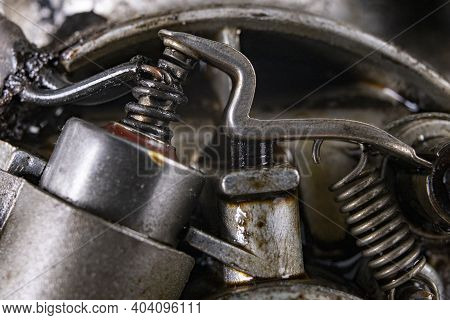 Internal Combustion Engine Ignition System. Electric Circuit Breaker On The Engine.