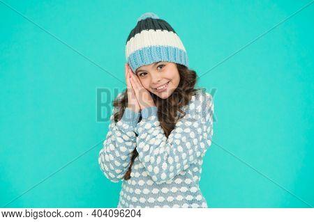 Full Of Happiness. Cozy And Comfortable. Winter Fashion For Active Rest. Healthy Child Wearing Knitw