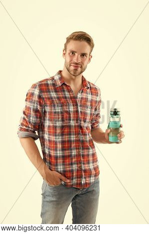 Stop Your Thirst. Thirsty Guy Hold Water Bottle Isolated On White. Handsome Man Feel Thirsty. Thirst