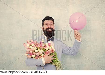 Valentines Day Party. Happy Hipster Hold Tulips And Party Balloon. Bachelor Party. Holiday Decoratio