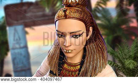 Close Up Portrait Of The Legendary Last Egyptian Princess, Queen And Pharaoh, Cleopatra, 3d Render.