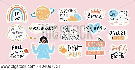 Big Set Of Self Love Quotes In Stickers.