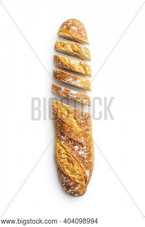 Sliced baguette. Crispy fresh baguettes isolated on white background.