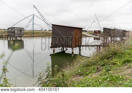 Carrelet De Pêche, The Emblematic Fisherman's Hut Of The Coastal Landscapes Of Vendee, Charente-mari