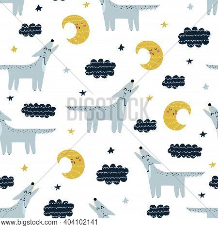 Wolf Howling At The Moon Seamless Pattern. Cute Forest Character Background