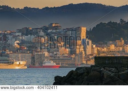 Landscape Of The City Of Vigo At Sunset From A Dock On The Other Side Of The Bay