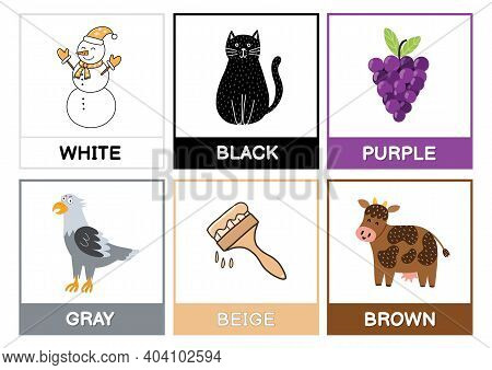 Flashcards With Main Colors. Learn Primary Colours Educational Poster For Kids