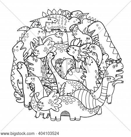 Circle Shape Coloring Page With Cute Dinosaurs. Mandala With Dinos