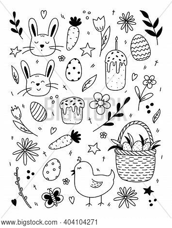 Set Of Easter Design Elements. Cute Faces Of Rabbits And A Chick, Festive Easter Eggs In A Basket, E