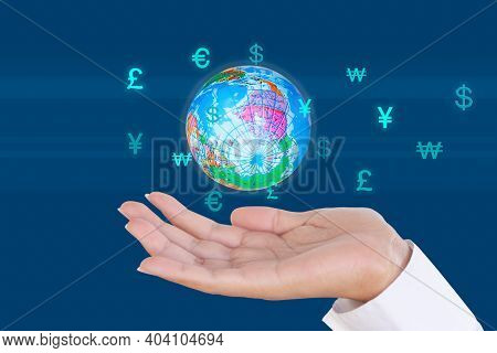 Future Plan Saving Money For 2021 Year Concept. Woman Hand Open With Globe And Symbol Money  Usd, Eu