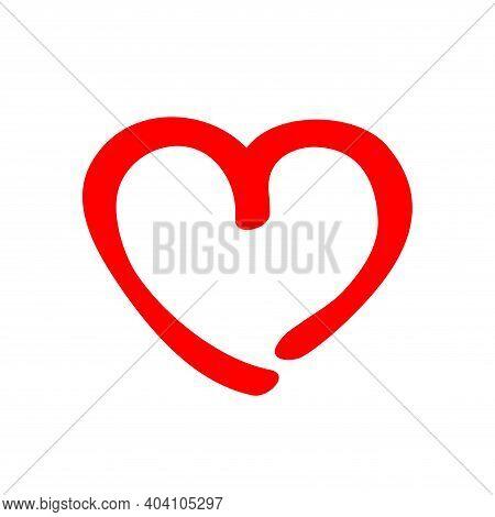 Felt Tip Pen Curl Red Heart. Love Shaped Curly Symbol Handmade. Valentines Day Imitation Concept. Ve