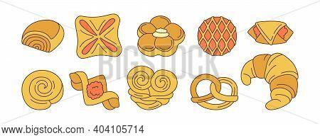 Sweet Buns Line Cartoon Icon Set Bakery Bun Vector