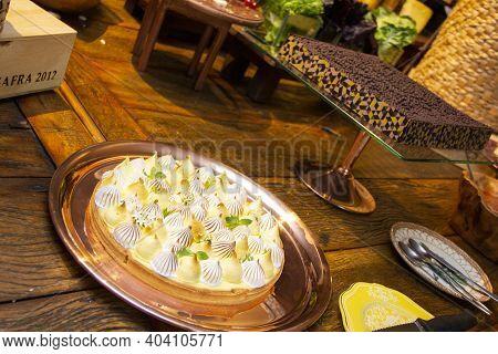 Tarte Au Citron - Sicilian Lemon Tart, With Brigadeiro Tart In The Background.