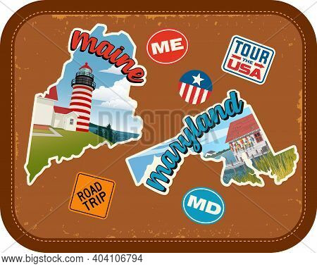 Maine, Maryland Travel Stickers With Scenic Attractions And Retro Text On Vintage Suitcase Backgroun
