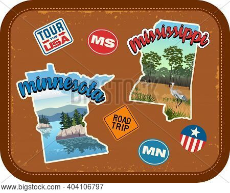 Minnesota, Mississippi Travel Stickers With Scenic Attractions And Retro Text On Vintage Suitcase Ba