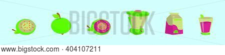 Set Of Guava Cartoon Design Template With Various Models. Modern Vector Illustration Isolated On Blu