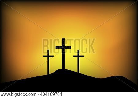 Banner With Calvary Three Crosses. Picture For Easter. Crucifixion Against The Background Of Sunset.