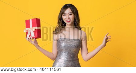 Woman With Gift Box, Luxury Retro Girl In Shining Silver Dress