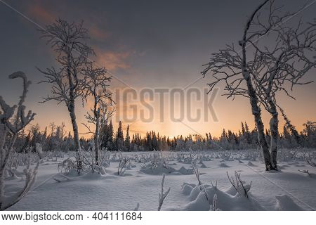 Fantastic Winter Landscape During Sunset. Colorful Sky, Glowing With Sunlight. A Dramatic Winter Sce