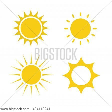Set Of Sun Icons Isolated On White Background. Sunshine, Sunset. Vector Illustration.