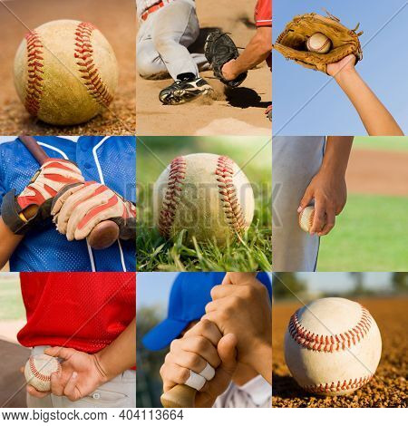 Collage portrait of baseball players playing