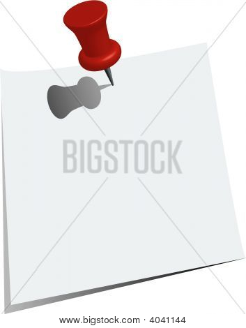 Push Pin And Paper Note