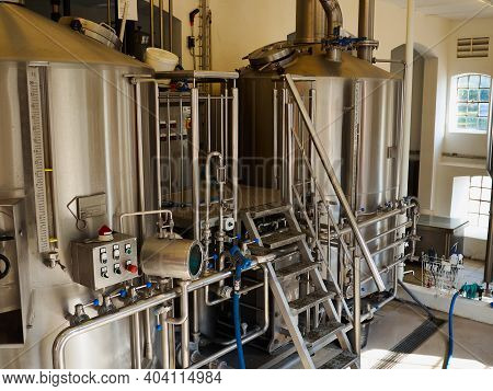 Modern Stainless Steel Equipment And Tanksfor The Production  Of Beer In A New Brewery