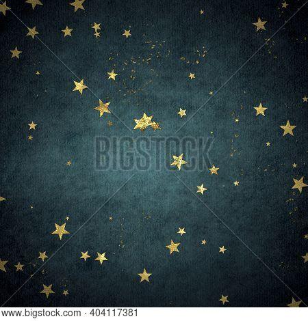 Christmas confetti, golden glitter texture on a dark background.