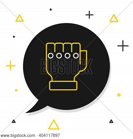 Line Mma Glove Icon Isolated On White Background. Sports Accessory Fighters. Warrior Gloves. Colorfu