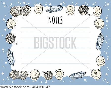 Cozy Boho Notes Planner With Candles, Quartz Crystals And Yarn Ornament. Cute Template For Agenda, P
