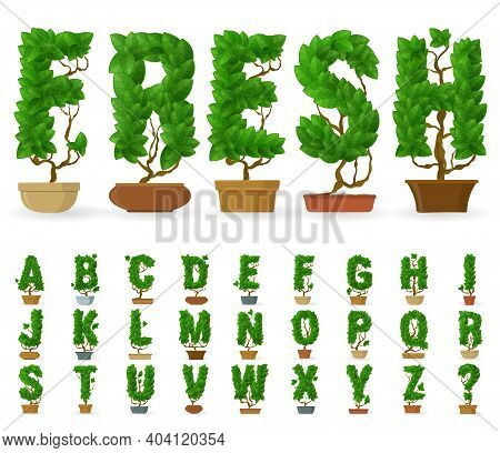 Potted Tree Vector Alphabet Of Letters Made From Green Leaves. Green Leaf Fresh Spring Foliage Summe